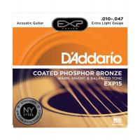 Muta di corde D'Addario EXP 15 Extra Light PHOSPHOR BRONZE per chitarra acustica