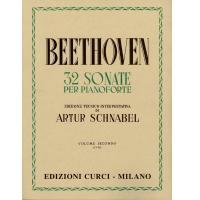 Beethoven 32 Sonate per pianoforte Edizione Tecnico-Interpretativa di Artur Schnabel Volume secondo (13-23) EDIZIONE CURCI