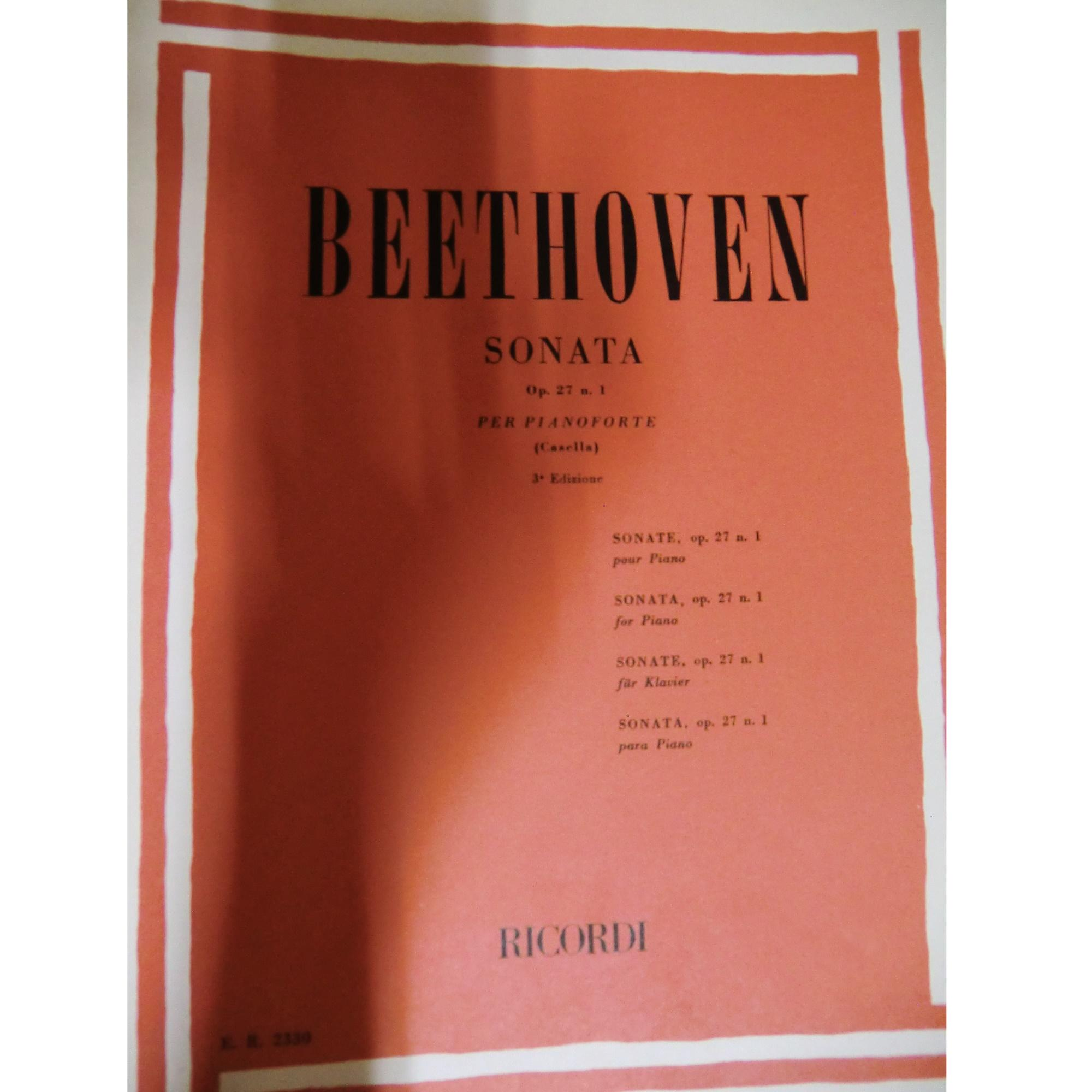 Ricordi Op.109 Beethoven: Sonata Per Pianoforte Piano Sonata Casella