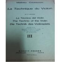 Crickboom La Technique du Violon en 3 Volumes III - Schott Freres