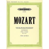 Mozart Violin Konzert D dur D major K.V. 211 Violine und Klavier - Edition Peters