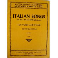 Italian Songs of the 17th and 18th Centuries FOR VOICE AND PIANO (Luigi dalla Piccola) Volume I (Low) - International Music Company