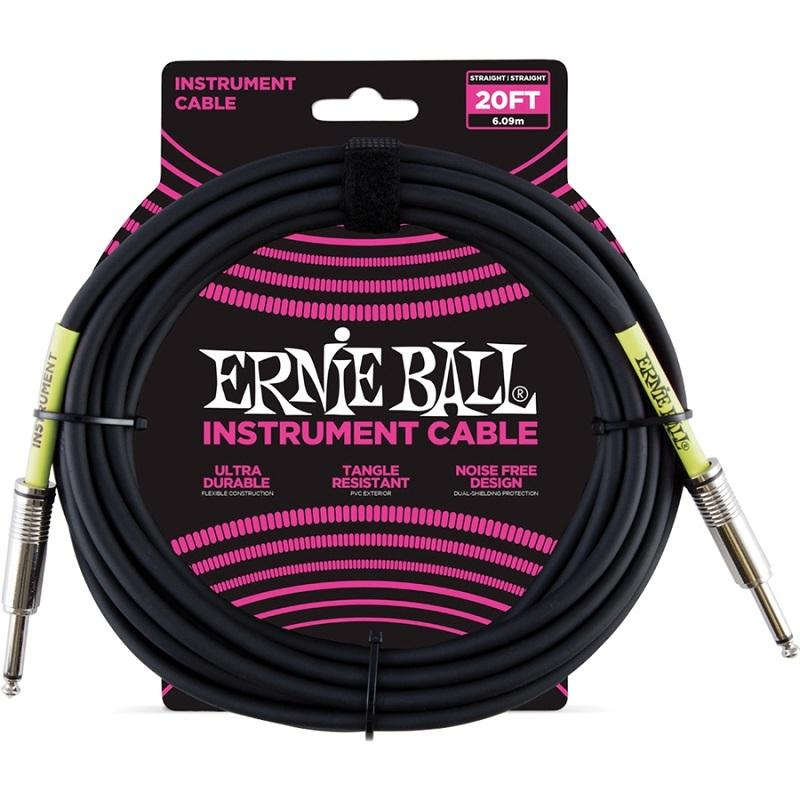 Ernie Ball 6046 Cavo PVC Black 6,09 m Connettori dritti